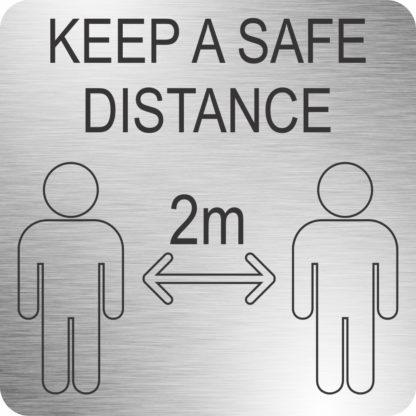 Safe Distance Sign(210x210mm, Brushed ACP)-MEDSS03